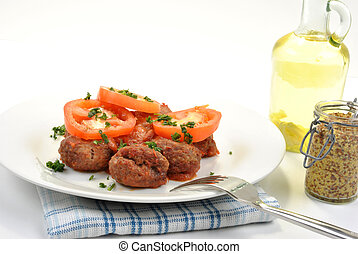 paradicsom, tányér, hús labda, szerves