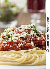 paradicsom, tányér, spagetti ízesítő