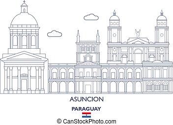 paraguay, város, asuncion, láthatár, lineáris