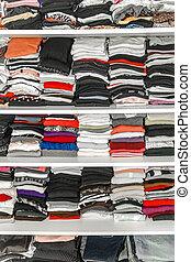 parancsolt, beépített szekrény, neatly, thickly, öltözet, elrendez, fehér, öltözék