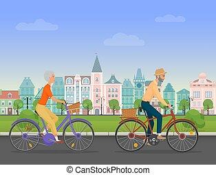 park., illustration., vektor, emberek, természetjáró, nyugdíjas, életkor, lovaglás, öreg bicikli, öregedő, karikatúra, idősebb ember, párosít., aktivál, város, travelers., betű