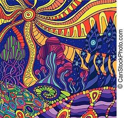 parkosít., fantasztikus, szürrealista, szórakozottan firkálgat, színes, grafikus, psychedelic