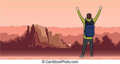 parkosít., jelkép, kézbesít, vektor, kilátás, ábra, hát, másol, kiránduló, explorer., emelt, space., ember, hegy, success., backpacker, fiatal