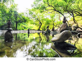 parkosít., lelki, természet, zen, environment., csendes, elmélkedés