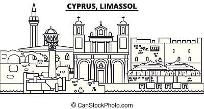 parkosít., limassol, cityscape, iránypont, illustration., vektor, ciprus, nevezetességek, híres, egyenes, láthatár, város, lineáris