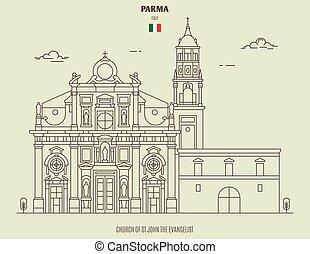 parma, templom, italy., határkő, jános, ikon, evangélista, rétegfelhő