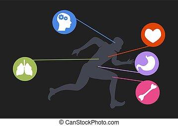 pasas, életmód, kocogás, futás, állóképesség, ember, karikatúra, gyakorlás