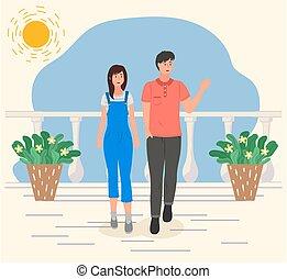 pasas, befőzött, plants., leány, gyalogló, nap, párosít, terasz, mosolygós, fehér, ünnepek, fiatal