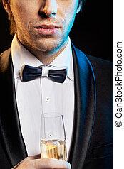 pasas, pezsgő, ivás, fiatal, jelentékeny