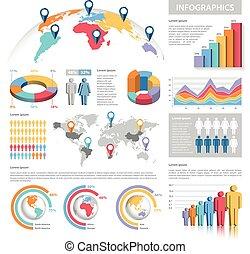 pasztell, állhatatos, vektor, infographics, befest
