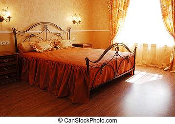 pasztell, romantikus, napos, tervezett, hálószoba, narancs