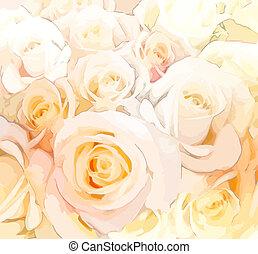 pasztell, stilizált, agancsrózsák, befest, háttér, virágos