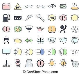 pasztell, szolgáltatás, állhatatos, autó, -, töltelék, jelkép, határfelület, befest, vektor, műszerfal, fenntartás, figyelmeztetők, ikon