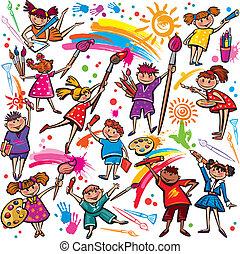 pasztellkréták, színes, gyerekek, ecset, rajz, boldog