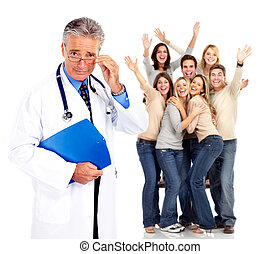patients., orvosi doktor, boldog, emberek