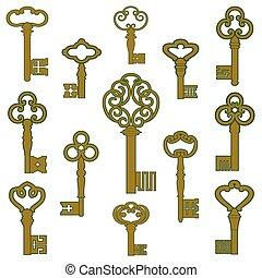 patina, lakberendezési tárgyak, kulcsok, bronz