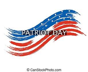 patrióta, nemzeti, befest, ábra, lenget, háttér., lobogó, fehér, inscription., nap