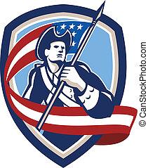patrióta, pajzs, lobogó lenget, katona, amerikai