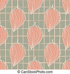 pattern., háttér., botanic, húzott, körvonal, elvont, rózsaszínű, szürke, zöld, seamless, chequred, díszítés, hnad