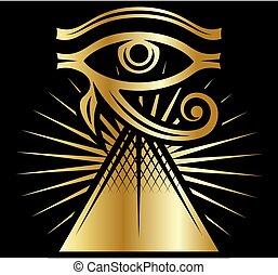 pattern., küllők, pyramid.., szín, véraláfutás, illustration., horus, jelkép, ősi, nap háttér, vektor