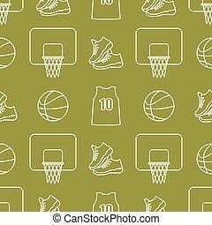 pattern., kosárlabda, equipment., seamless, sport