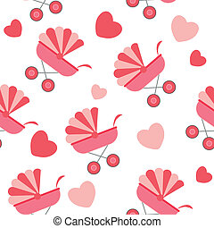 pattern., seamless, vektor, csapágyak, háttér, csecsemő