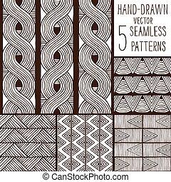 patterns., vektor, állhatatos, seamless