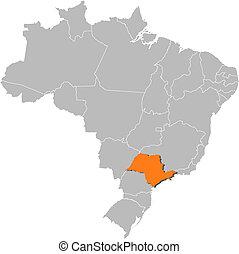 paulo, térkép, kijelölt, sao, brazília