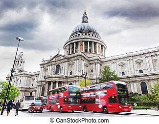 paul's, ég, busz, felhős, rétegfelhő, uk., székesegyház, london, piros