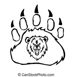 paw.vector, látszik, white., elszigetelt, nagy, őszes, teeth., hord, vad, jel, fekete, growls, mérges, ábra