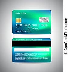 payment., kártya, hitel, lejtő, template., hát, kék, card., pénz, elülső, neon, vektor
