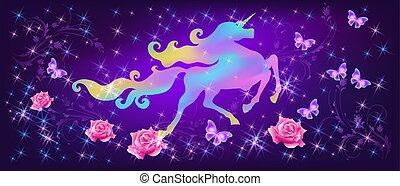 pazar, szikrázó, agancsrózsák, ellen, egyszarvú, kanyargás, háttér, képzelet, csillaggal díszít, irizáló, sörény, világegyetem, pillangók