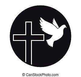peace., jámbor, jelkép, religion., vector., templom, repülés, galamb, spirit., logo., cross.