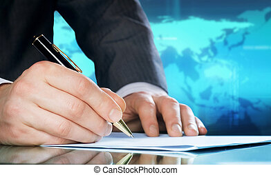 pen., ügy, nemzetközi, businessman's, kéz, fogalom