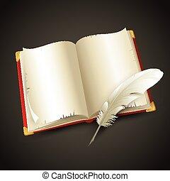 pen., vektor, öreg, könyv, ábra