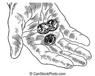 pennies, kéz, kevés, változat, fekete, semmi, fehér, mint, több