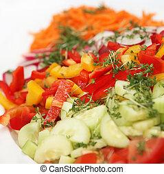 peppers, derékszögben, friss, -, uborkák, saláta