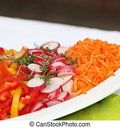 peppers, vörös haj, friss, saláta, retkek, díszít