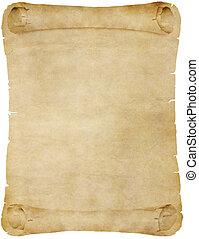 pergament, dolgozat, öreg, felcsavar, vagy