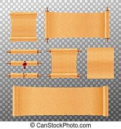 pergament, isolated., ábra, mockup, papirusz, állhatatos, vektor, cikornyázik, gyakorlatias, vagy