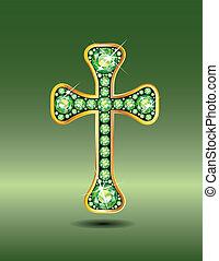 peridot, keresztény, kereszt, arany