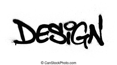 permetezett, szó, felett, falfirkálás, tervezés, fehér, fekete