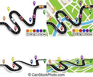 perspective., állhatatos, city., térkép, vehicles., kanyargás, infographics., ábra, felül, specified, közútak, út, kilátás, navigator., signs., mozgalom