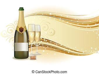 pezsgő, ünnepel, háttér