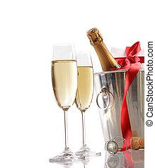 pezsgő, szalag, piros, tehetség, szemüveg