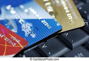 photography., laptop, lefektetés, feláll, hitel, billentyűzet, kártya, becsuk