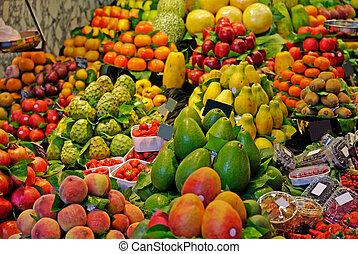 piac, á-hang, boqueria, barcelona, összefut., híres, szelektív, világ, spain., fruits.