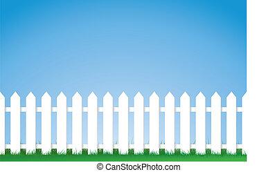 picket kerítés, fehér