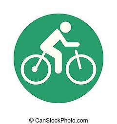 pictogram, bicikli, elektromos, kerek