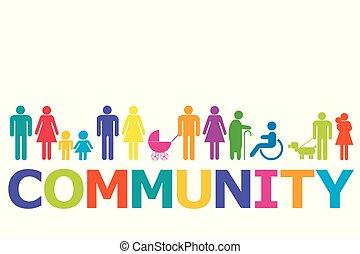 pictograms, fogalom, színezett, közösség, emberek